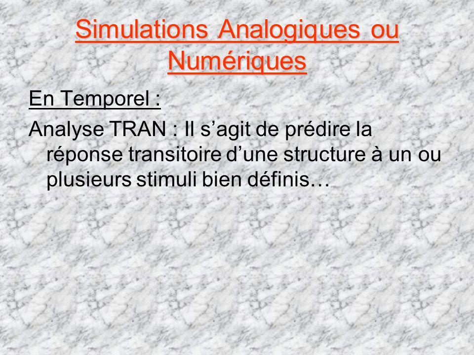 Simulations Analogiques ou Numériques
