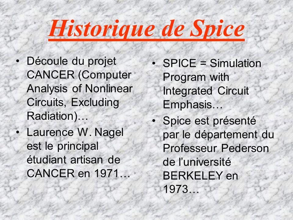 Historique de Spice Découle du projet CANCER (Computer Analysis of Nonlinear Circuits, Excluding Radiation)…