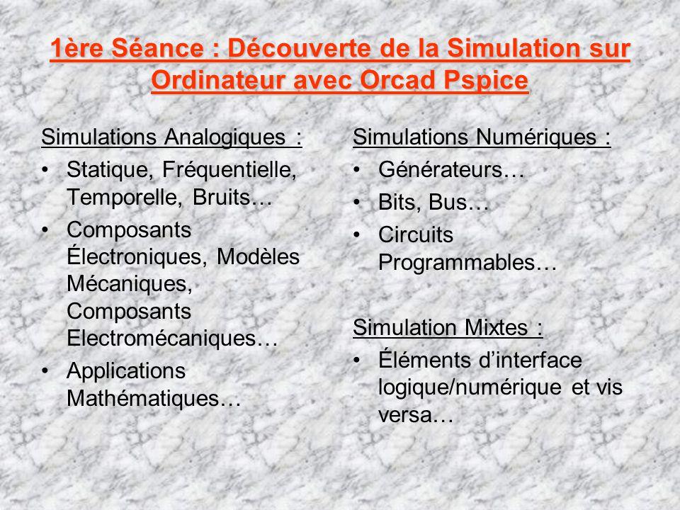1ère Séance : Découverte de la Simulation sur Ordinateur avec Orcad Pspice