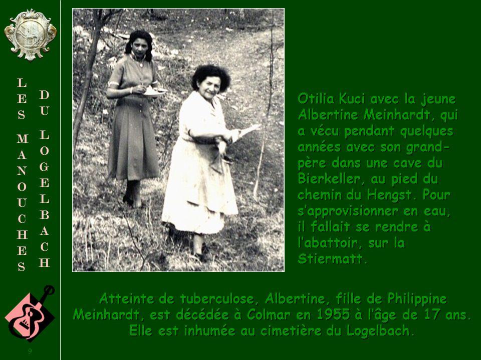 Otilia Kuci avec la jeune Albertine Meinhardt, qui a vécu pendant quelques années avec son grand-père dans une cave du Bierkeller, au pied du chemin du Hengst. Pour s'approvisionner en eau, il fallait se rendre à l'abattoir, sur la Stiermatt.