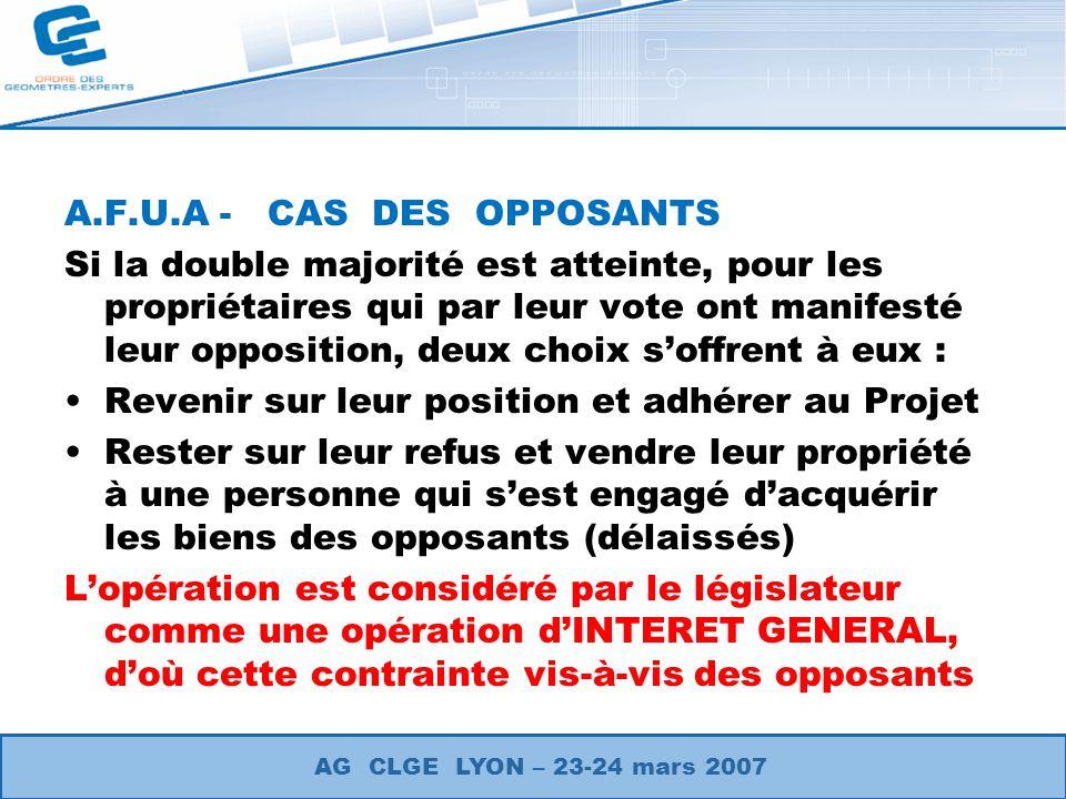 A.F.U.A - CAS DES OPPOSANTS