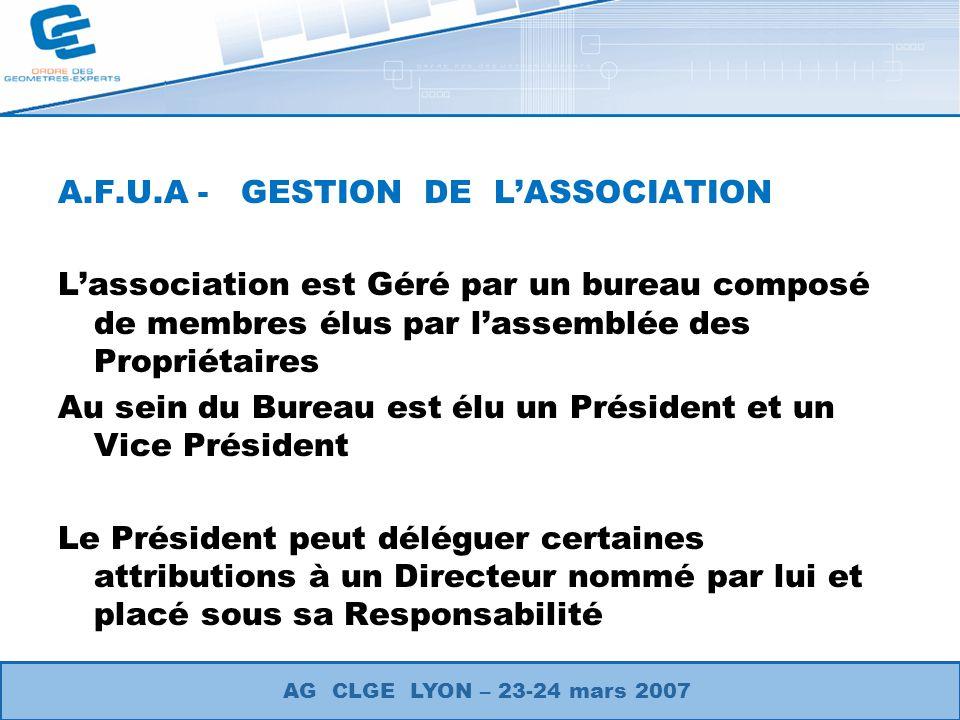 A.F.U.A - GESTION DE L'ASSOCIATION