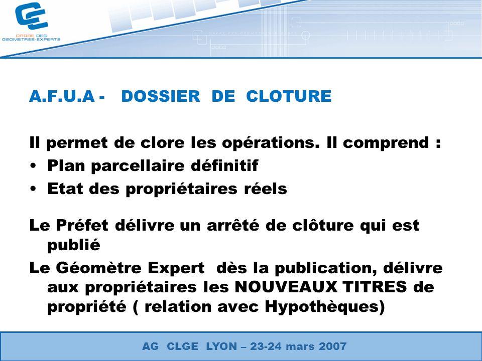 A.F.U.A - DOSSIER DE CLOTURE
