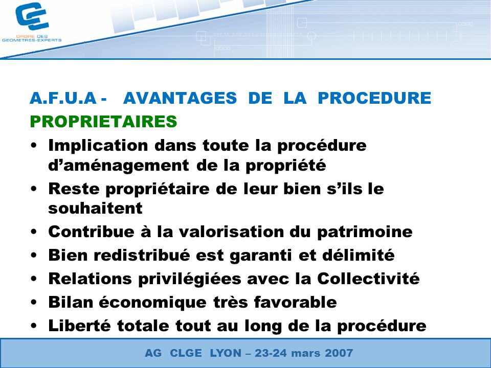 A.F.U.A - AVANTAGES DE LA PROCEDURE PROPRIETAIRES