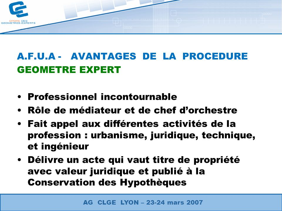 A.F.U.A - AVANTAGES DE LA PROCEDURE GEOMETRE EXPERT