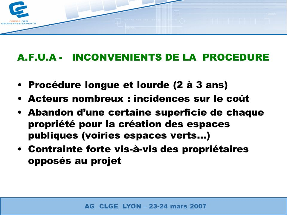 A.F.U.A - INCONVENIENTS DE LA PROCEDURE