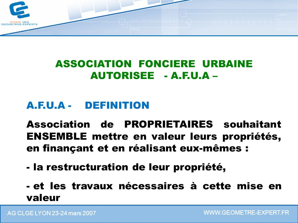 ASSOCIATION FONCIERE URBAINE AUTORISEE - A.F.U.A –