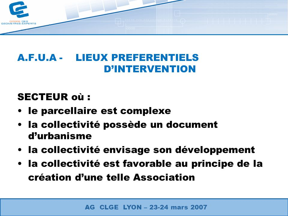 A.F.U.A - LIEUX PREFERENTIELS D'INTERVENTION