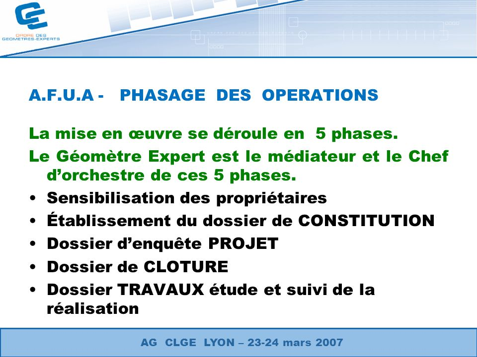 A.F.U.A - PHASAGE DES OPERATIONS