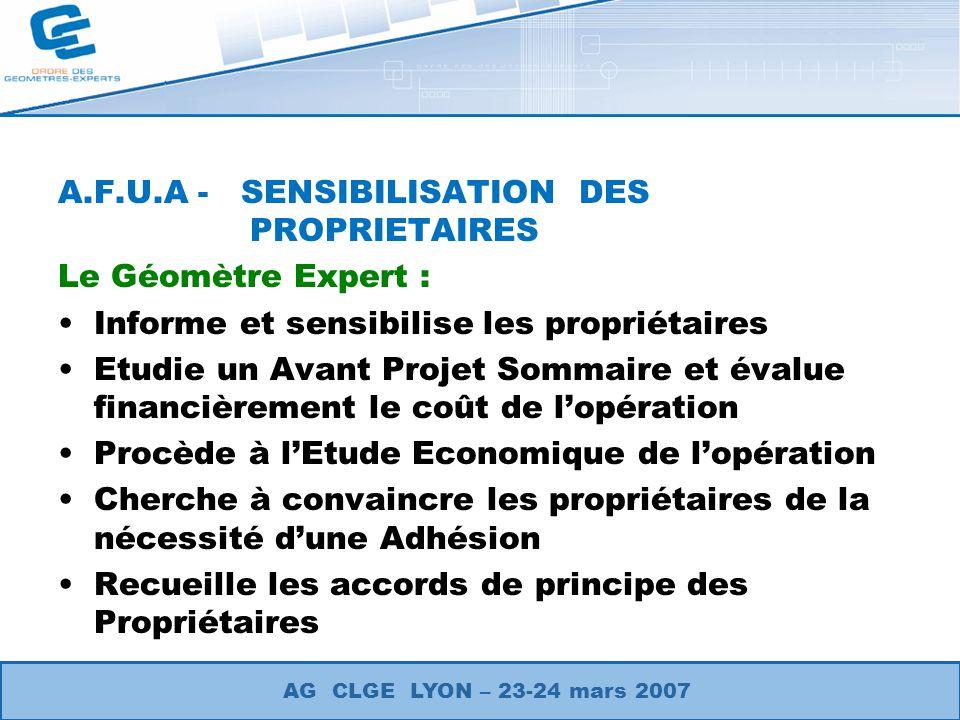 A.F.U.A - SENSIBILISATION DES PROPRIETAIRES Le Géomètre Expert :