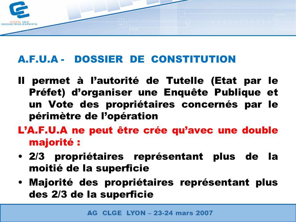 A.F.U.A - DOSSIER DE CONSTITUTION