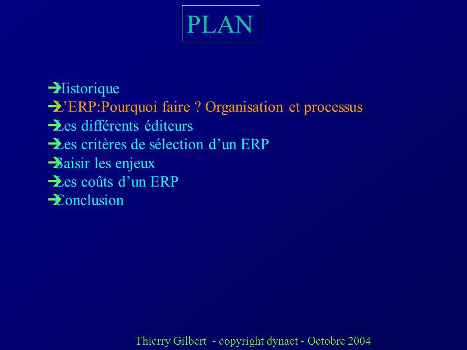 PLAN Historique L'ERP:Pourquoi faire Organisation et processus