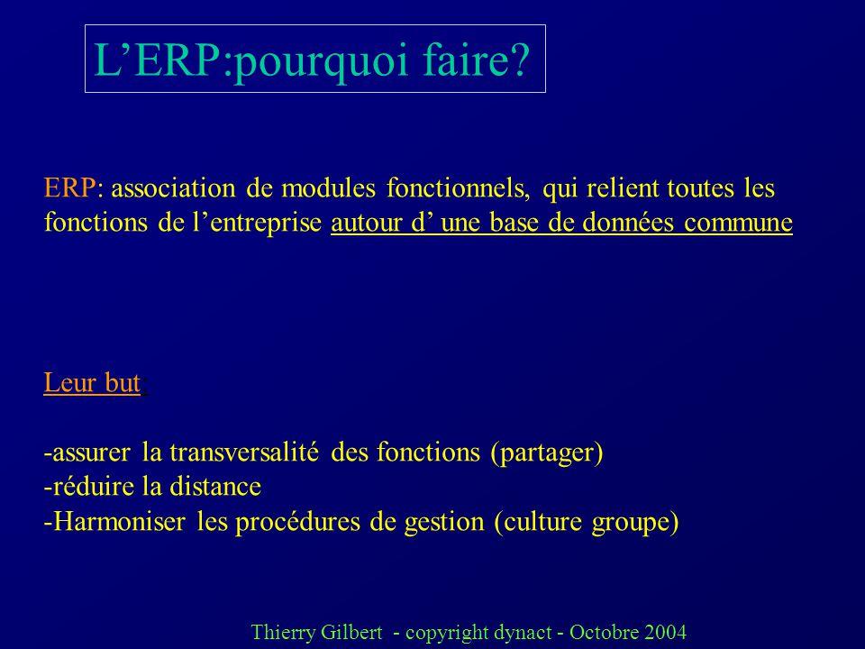 L'ERP:pourquoi faire ERP: association de modules fonctionnels, qui relient toutes les.