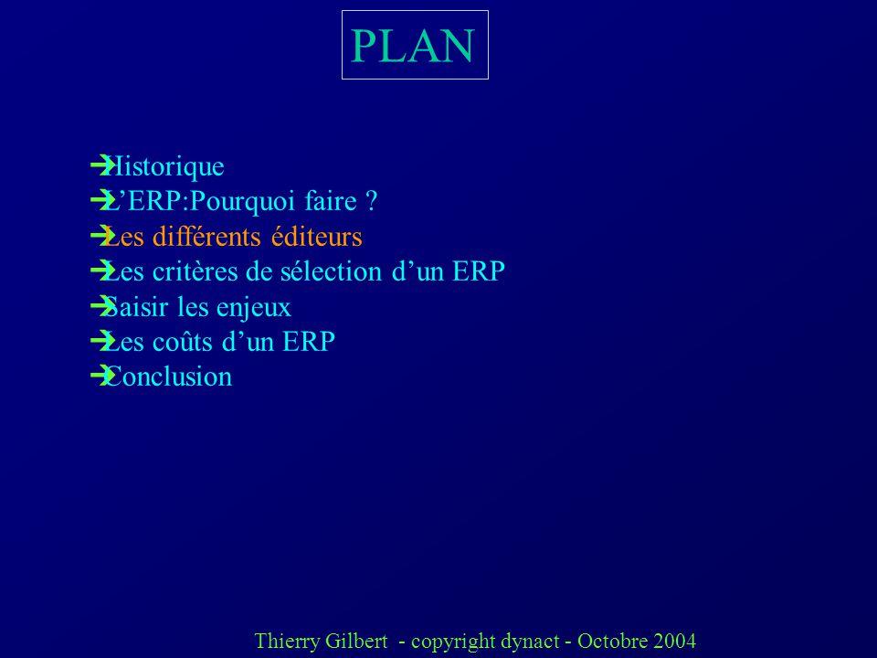 PLAN Historique L'ERP:Pourquoi faire Les différents éditeurs