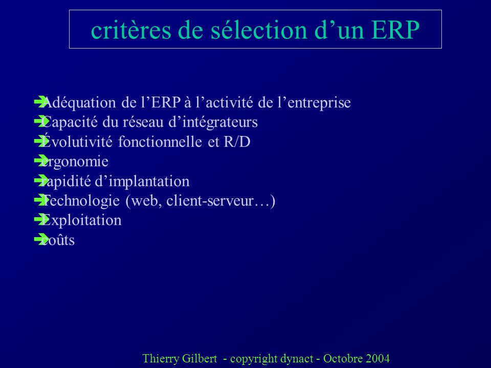 critères de sélection d'un ERP