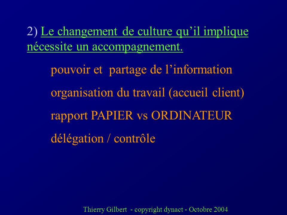 2) Le changement de culture qu'il implique nécessite un accompagnement.