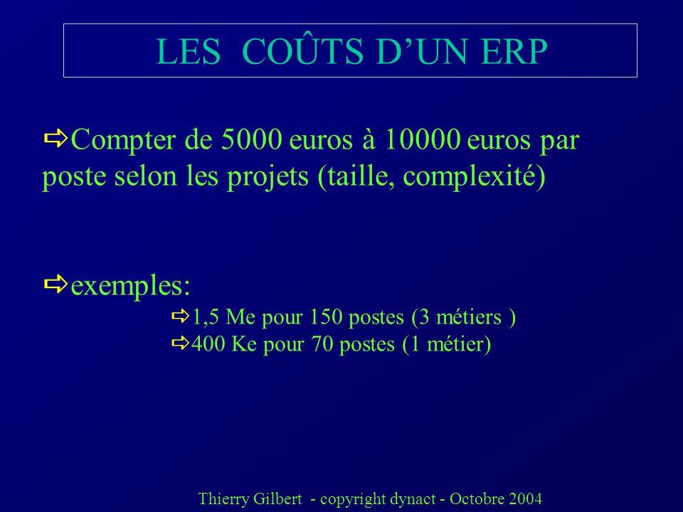 LES COÛTS D'UN ERP Compter de 5000 euros à 10000 euros par poste selon les projets (taille, complexité)