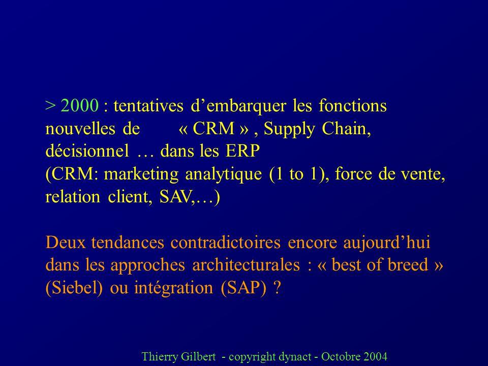 > 2000 : tentatives d'embarquer les fonctions nouvelles de « CRM » , Supply Chain, décisionnel … dans les ERP
