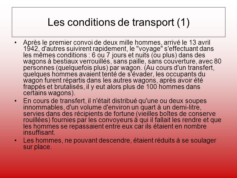 Les conditions de transport (1)
