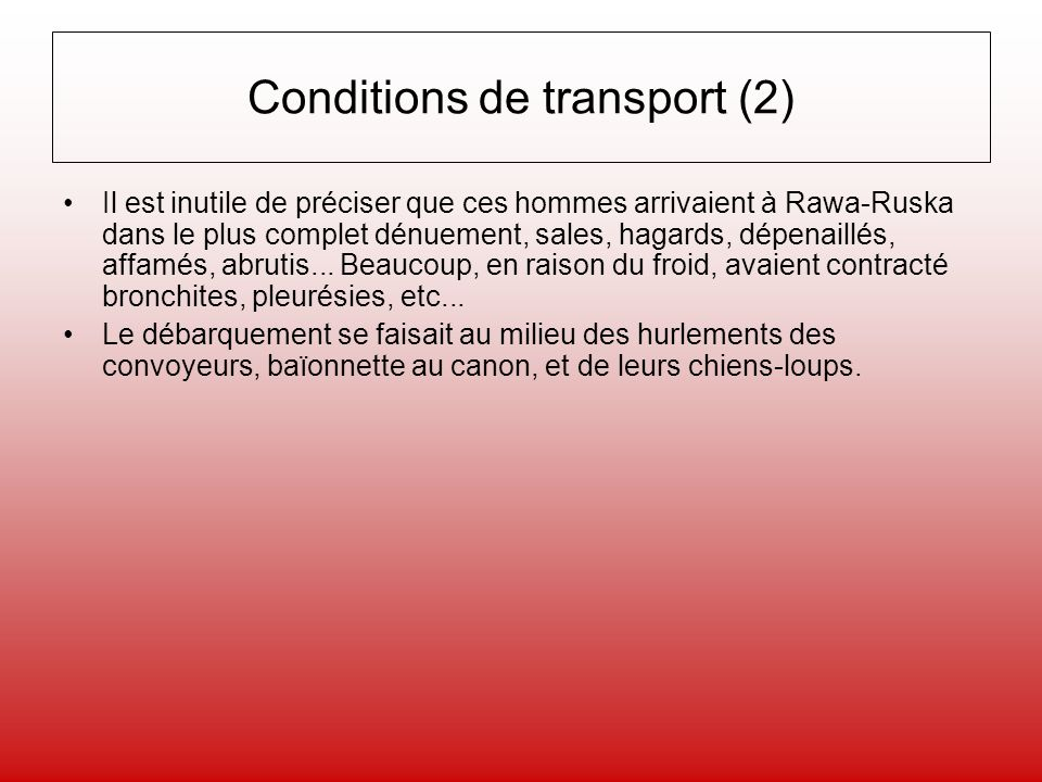 Conditions de transport (2)