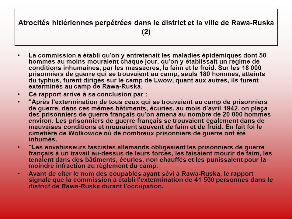 Atrocités hitlériennes perpétrées dans le district et la ville de Rawa-Ruska (2)