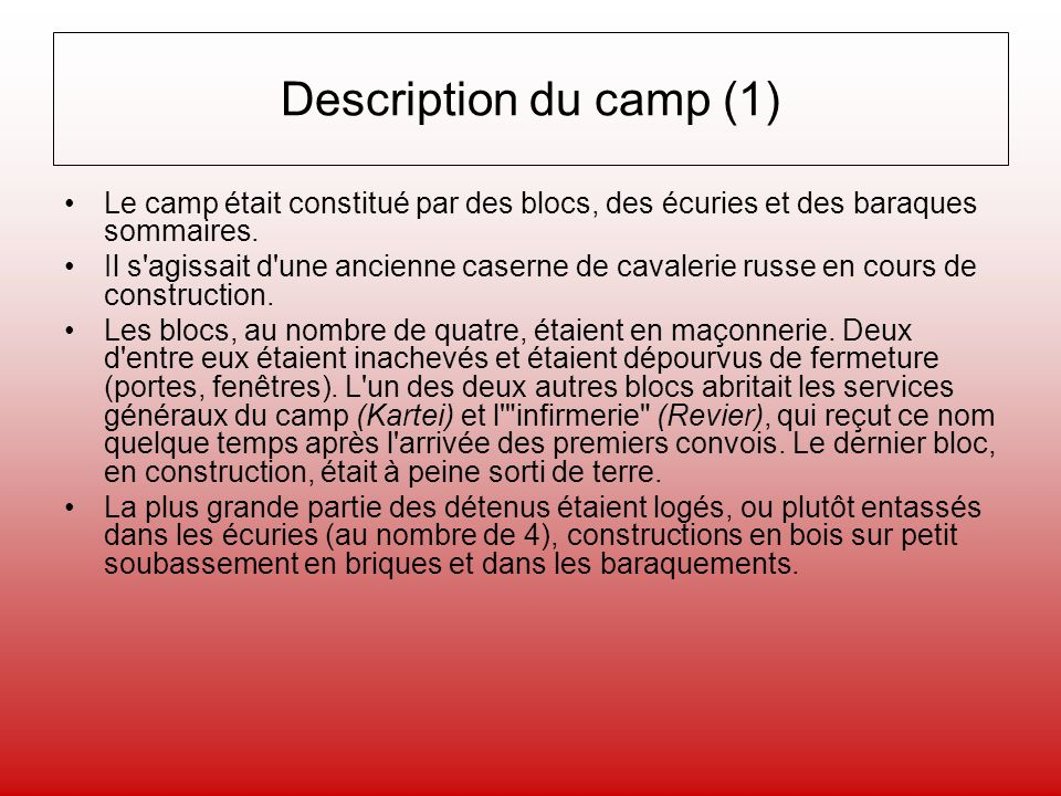Description du camp (1) Le camp était constitué par des blocs, des écuries et des baraques sommaires.