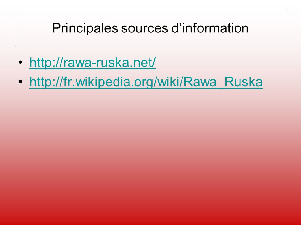 Principales sources d'information