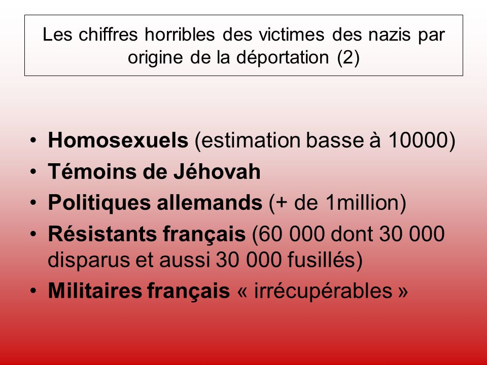 Homosexuels (estimation basse à 10000) Témoins de Jéhovah