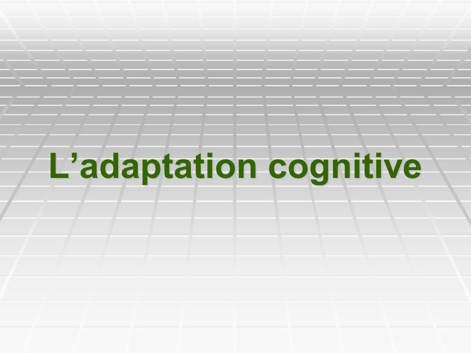L'adaptation cognitive