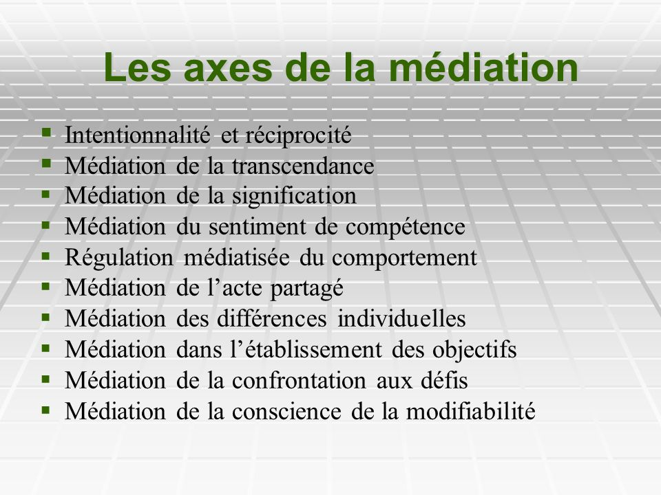 Les axes de la médiation