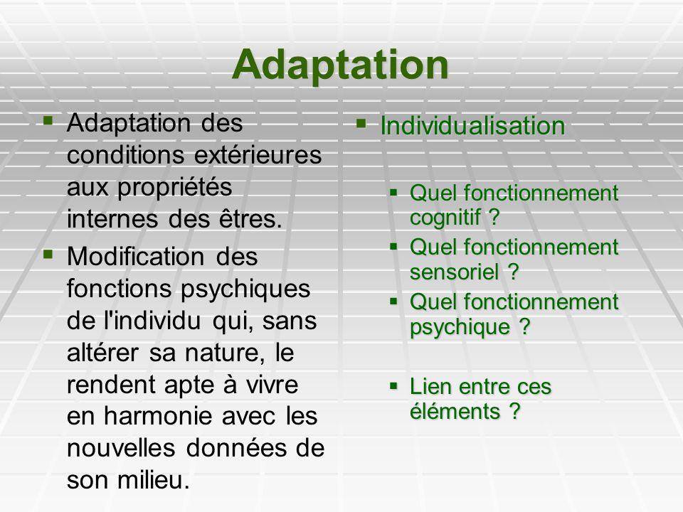Adaptation Adaptation des conditions extérieures aux propriétés internes des êtres.