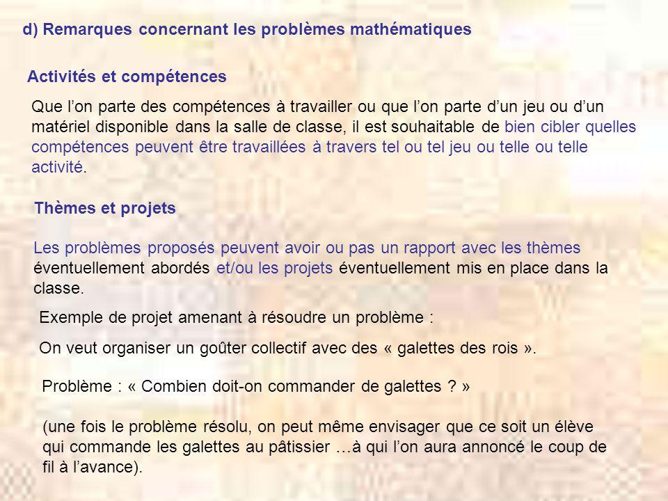 d) Remarques concernant les problèmes mathématiques