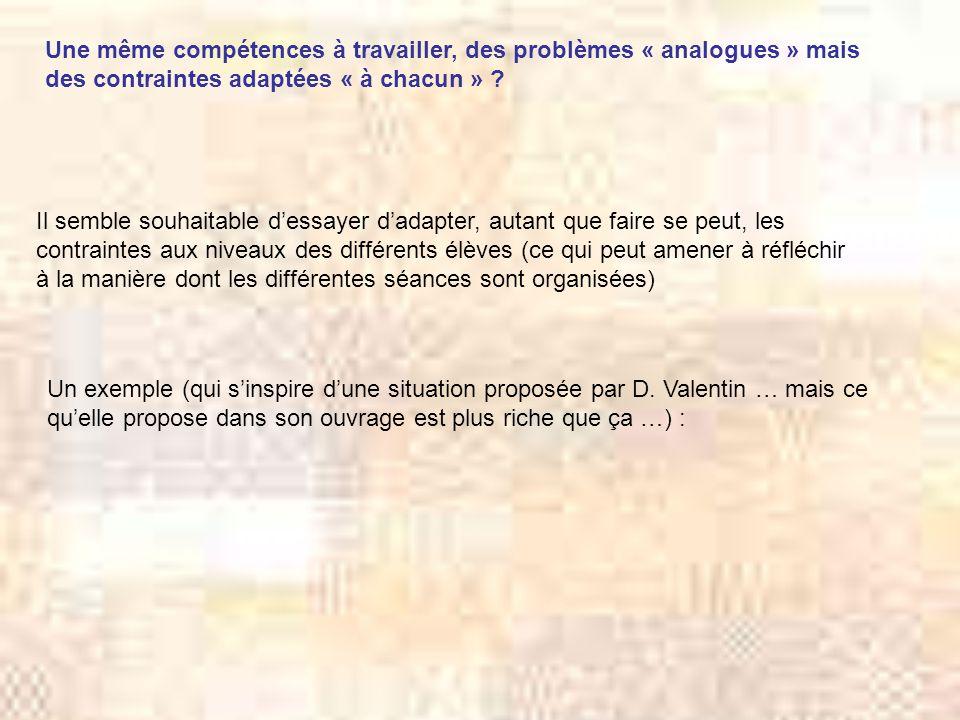 Une même compétences à travailler, des problèmes « analogues » mais des contraintes adaptées « à chacun »