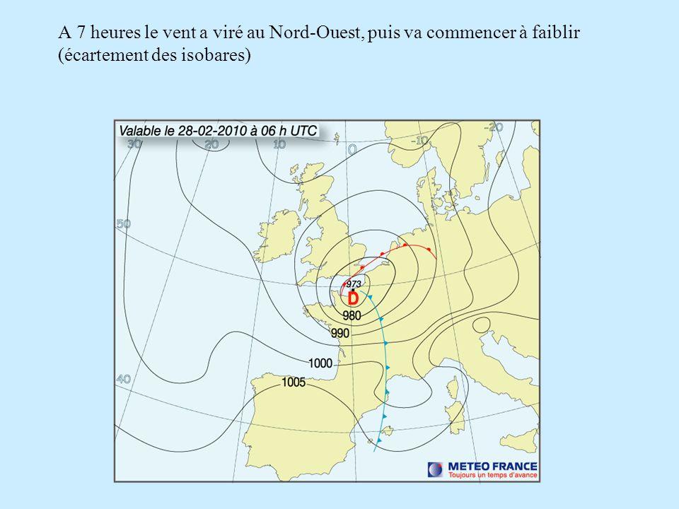 A 7 heures le vent a viré au Nord-Ouest, puis va commencer à faiblir (écartement des isobares)