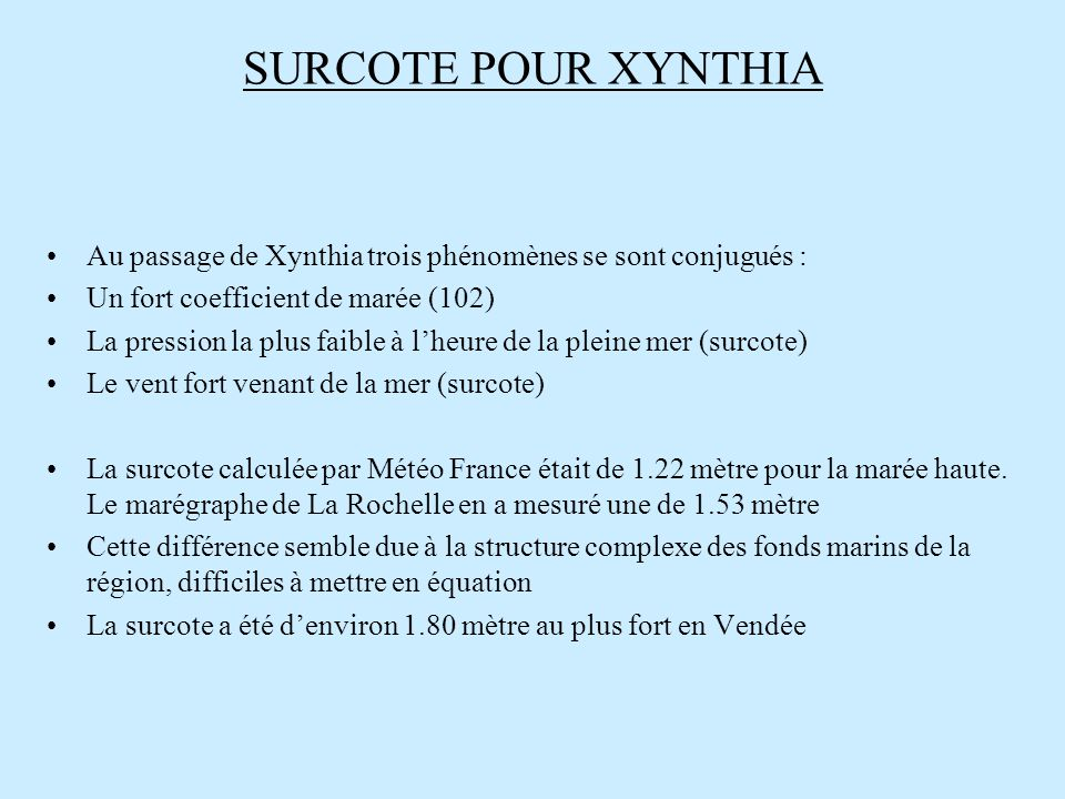 SURCOTE POUR XYNTHIA Au passage de Xynthia trois phénomènes se sont conjugués : Un fort coefficient de marée (102)