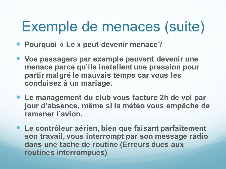 Exemple de menaces (suite)
