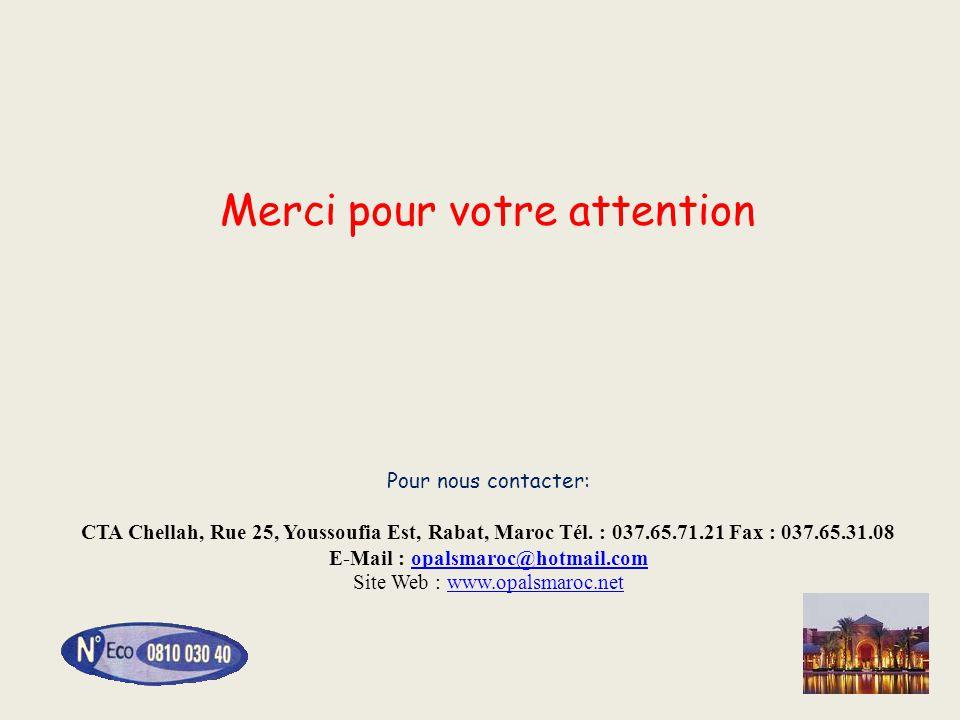 Merci pour votre attention Pour nous contacter: CTA Chellah, Rue 25, Youssoufia Est, Rabat, Maroc Tél. : 037.65.71.21 Fax : 037.65.31.08 E-Mail : opalsmaroc@hotmail.com Site Web : www.opalsmaroc.net