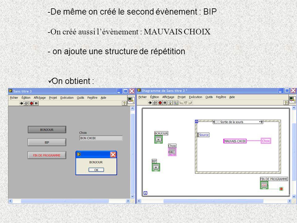 De même on créé le second évènement : BIP