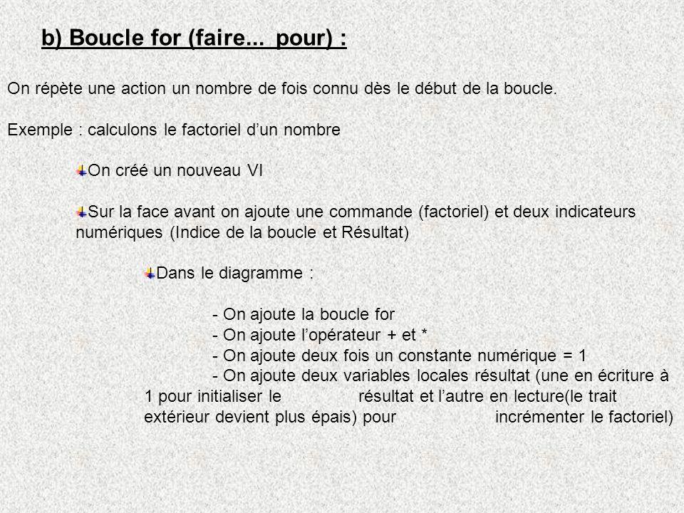 b) Boucle for (faire... pour) :