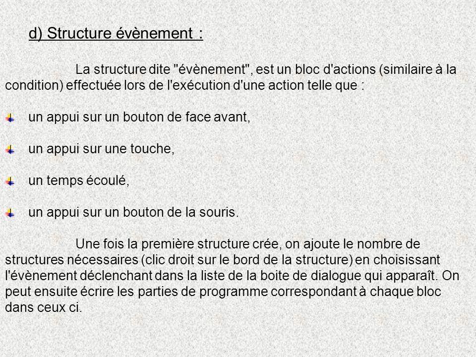 d) Structure évènement :