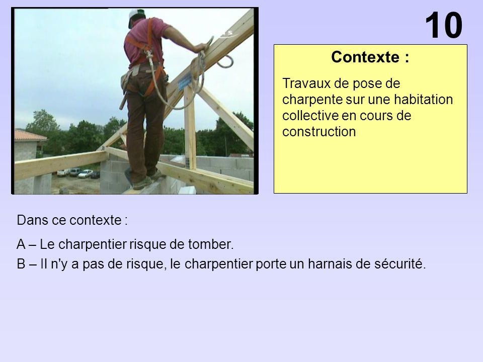 10 Contexte : Travaux de pose de charpente sur une habitation collective en cours de construction.