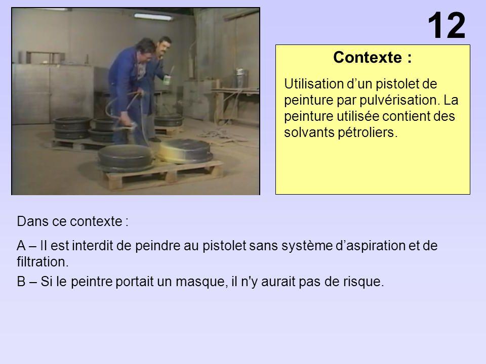 12 Contexte : Utilisation d'un pistolet de peinture par pulvérisation. La peinture utilisée contient des solvants pétroliers.