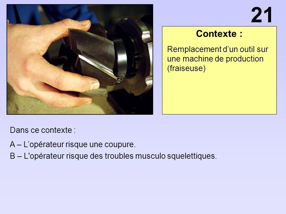 21 Contexte : Remplacement d'un outil sur une machine de production (fraiseuse) Dans ce contexte :