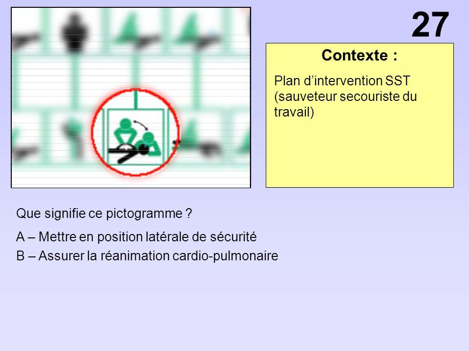 27 Contexte : Plan d'intervention SST (sauveteur secouriste du travail) Que signifie ce pictogramme