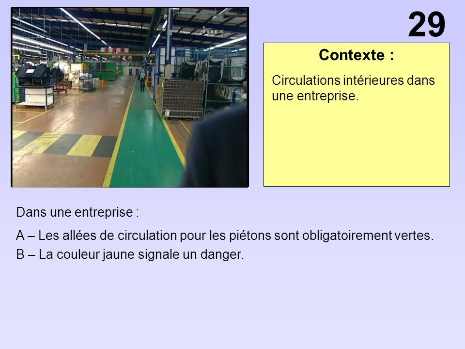 29 Contexte : Circulations intérieures dans une entreprise.