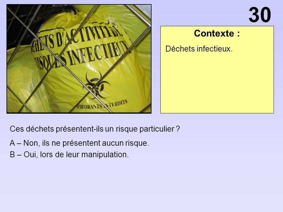 30 Contexte : Déchets infectieux.