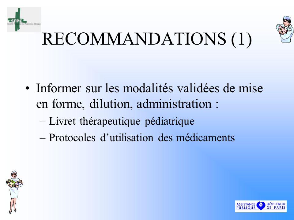 RECOMMANDATIONS (1) Informer sur les modalités validées de mise en forme, dilution, administration :