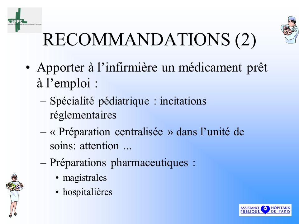 RECOMMANDATIONS (2) Apporter à l'infirmière un médicament prêt à l'emploi : Spécialité pédiatrique : incitations réglementaires.