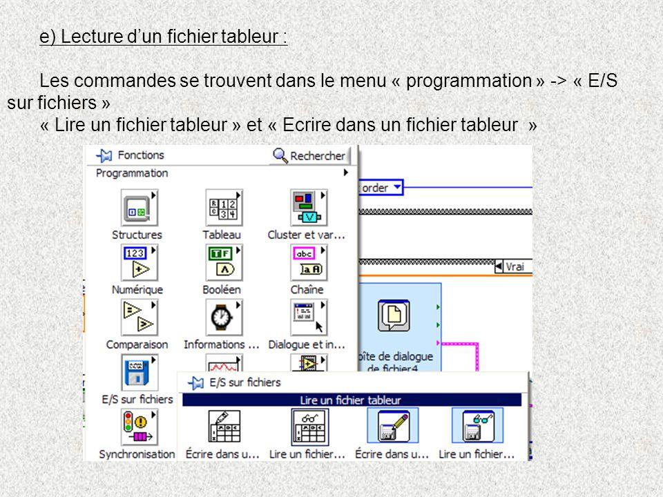 e) Lecture d'un fichier tableur :