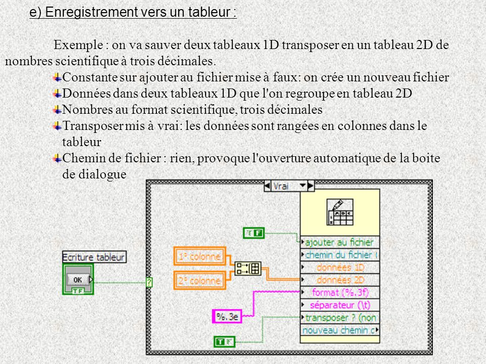 e) Enregistrement vers un tableur :